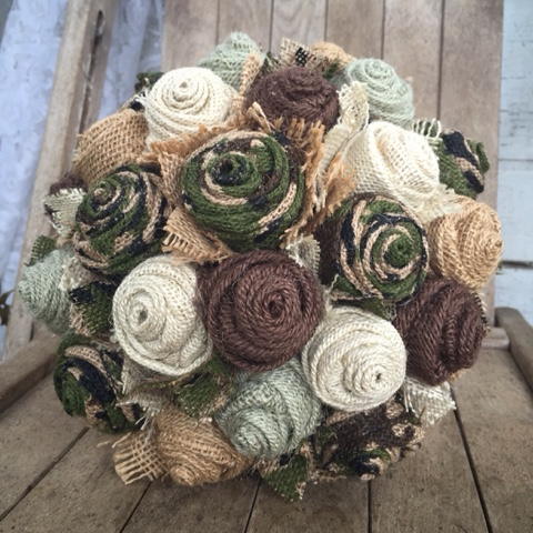 camo wedding flowers