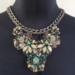 *SALE* Karen Millen NEW Knit Turquoise & White Stone Necklace