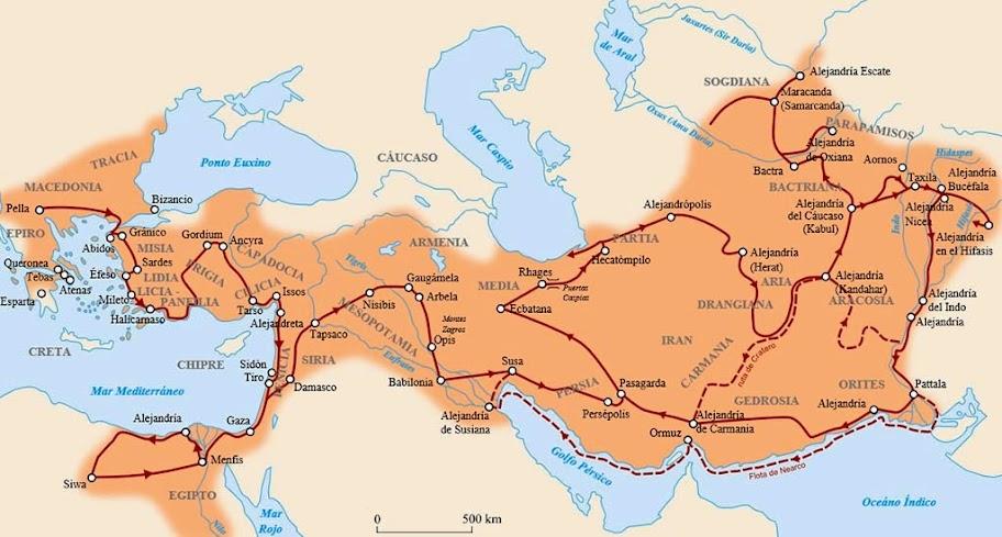Rutas seguidas por Alejandro Magno, Rey de Macedonia a lo largo de sus conquistas.