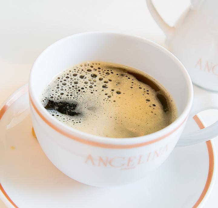 overhead photo of a mug of coffee
