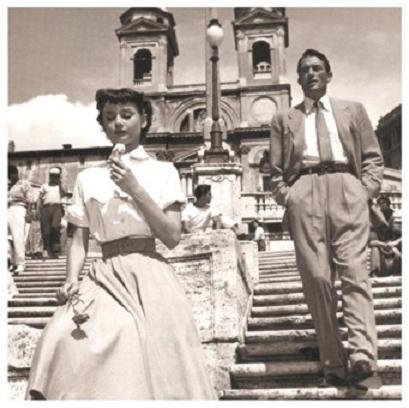 roman holiday vacaciones en roma audrey hepburn gregory peck princess ann escaleras plaza de españa helado