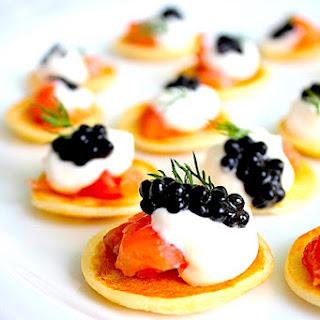 Gary Danko's Buckwheat Blini With Smoked Salmon, Crème Fraîche & Caviar.