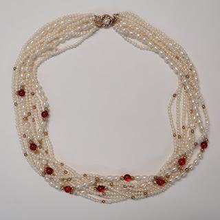 14K Gold, Freshwater Pearl & Garnet Necklace