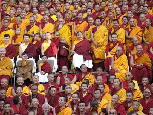His Holiness the Sakya Trizen with high Lamas after the first year of Wangya Norbu Tangwa initations, in Dheradhun, India 2008