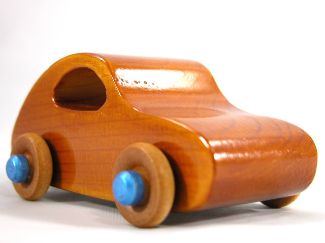 Handmade Wood Toy Car Based on the Classic 1957 Bug from the Play Pal Series
