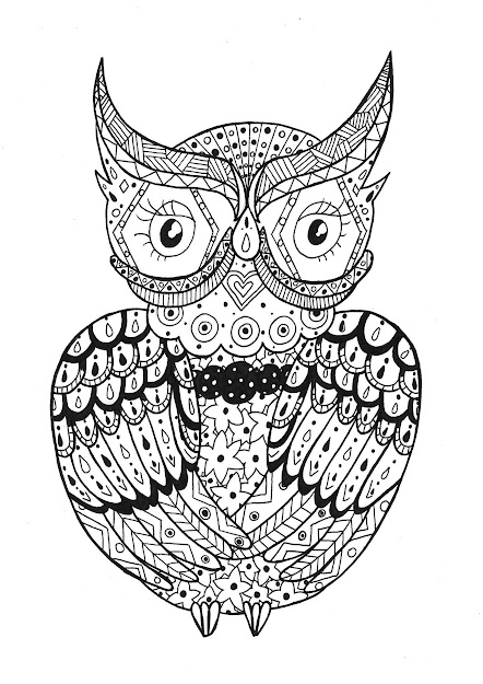 Owl To Have Good Time With All This Zentangle Forms From Fast  Finishersadult Coloring Pagescoloring
