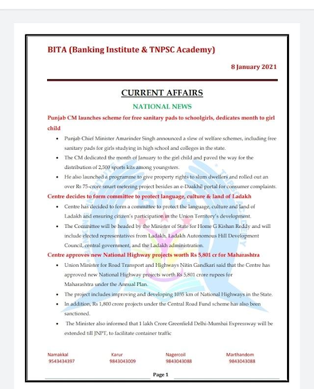 Banking Exam - Today Current Affairs  BITA Academy  ( 08 -  January  2021 )