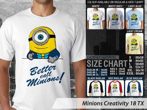 Kaos Kartun Minions Creativity 18 distro ocean seven