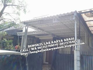 kanopi minimalis menggunakan atap kedap suara dan tidak panas