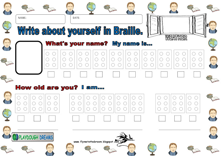 Fly me to the broom BRAILLE Resources – Braille Worksheets