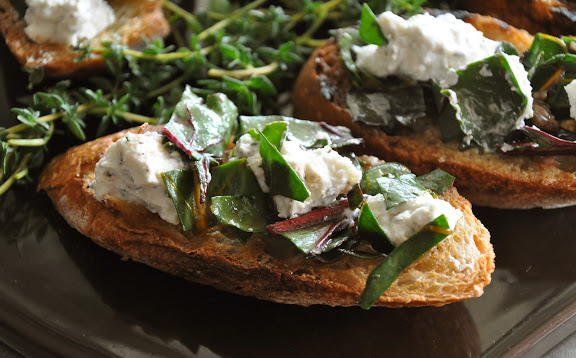 Recipe: Beet green and lemon chevre bruschetta