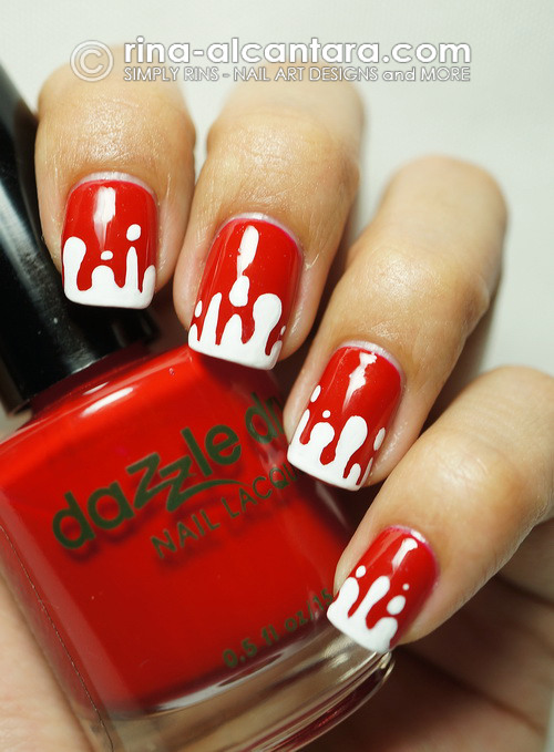 Blood Spill Halloween Nail Art Design on Dazzle Dry Rapid Red
