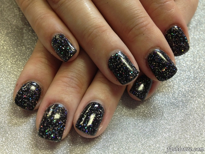 Glittery Pink and Black Design Nails  Fashionte