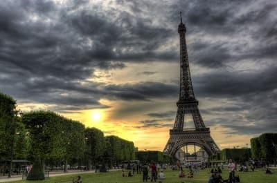 Eiffel tower sunset paris hdr