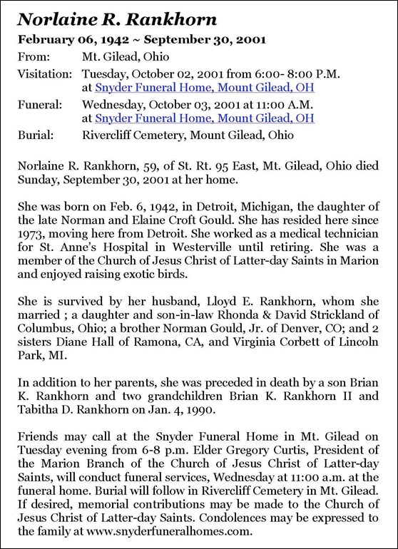 RANKHORN_Norlaine nee GOULD_Obituary_2001