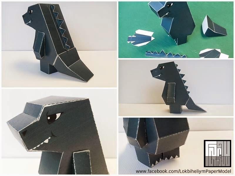 Cute Godzilla Paper Toy