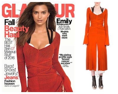 Emily Ratajkowski Glamour Cover October 2016 in Red Dress