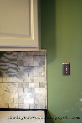 diy show off marble subway tile back splash from start