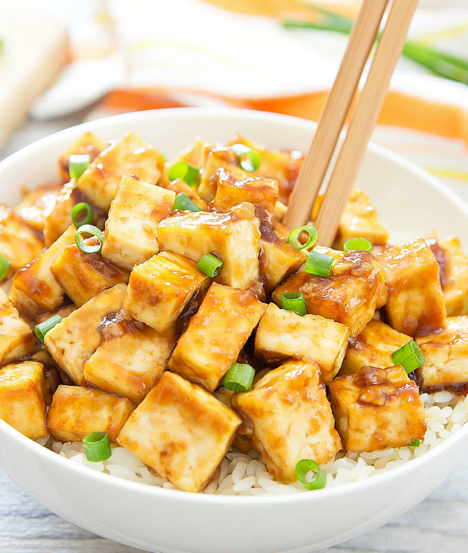close-up photo of Crispy Baked Garlic Tofu