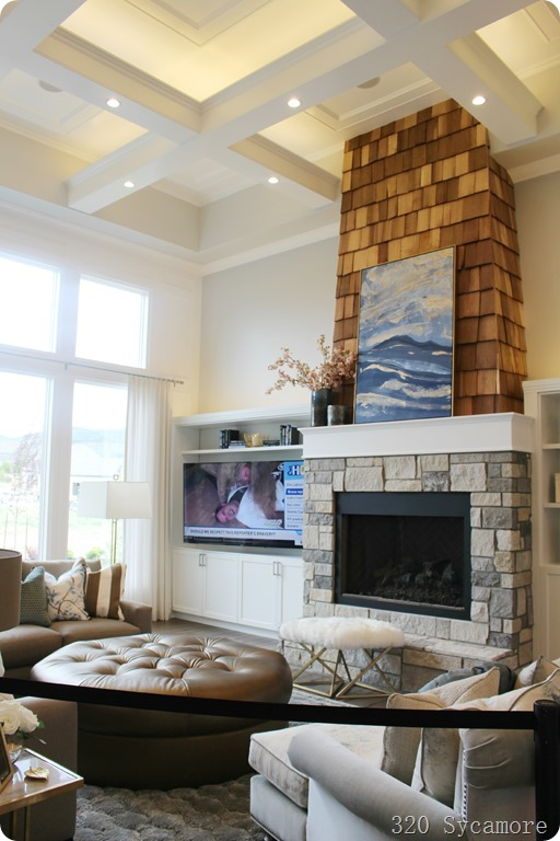 family room horizontal fireplace