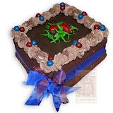 57. kép: Ünnepi torták - Katicás csokitorta szalaggal