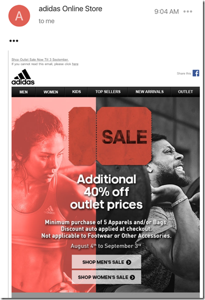 adidas Online additional 40% off