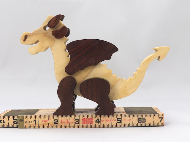 Handmade Wood Dragon Made From Poplar and Walnut Hardwoods 994612671