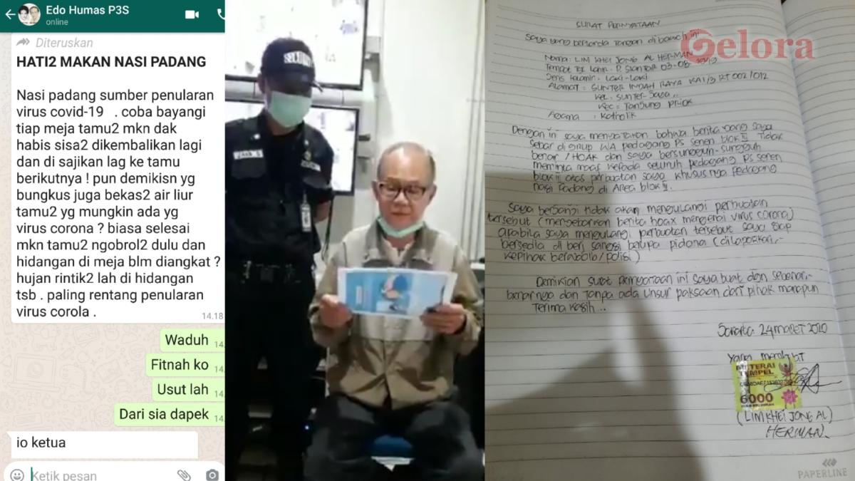 Fitnah Nasi Padang Tularkan Corona, Lim Khei Jong Minta Maaf Pakai Materai 6.000
