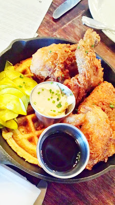 Burnside Brewing Brunch menu includes Fried Chicken & Cornbread Waffle served with Bee Local honey butter, maple syrup