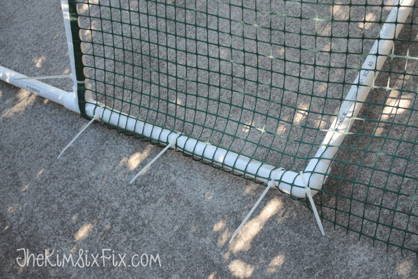 Secruing net with zip ties