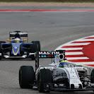 Felipe Massa, Williams FW37 Mercedes, leads Marcus Ericsson, Sauber C34 Ferrari