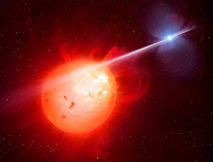 ilustração do exótico sistema binário de estrelas AR Scorpii