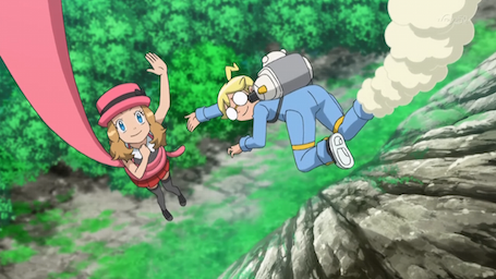 serena is licked by greninja's tongue