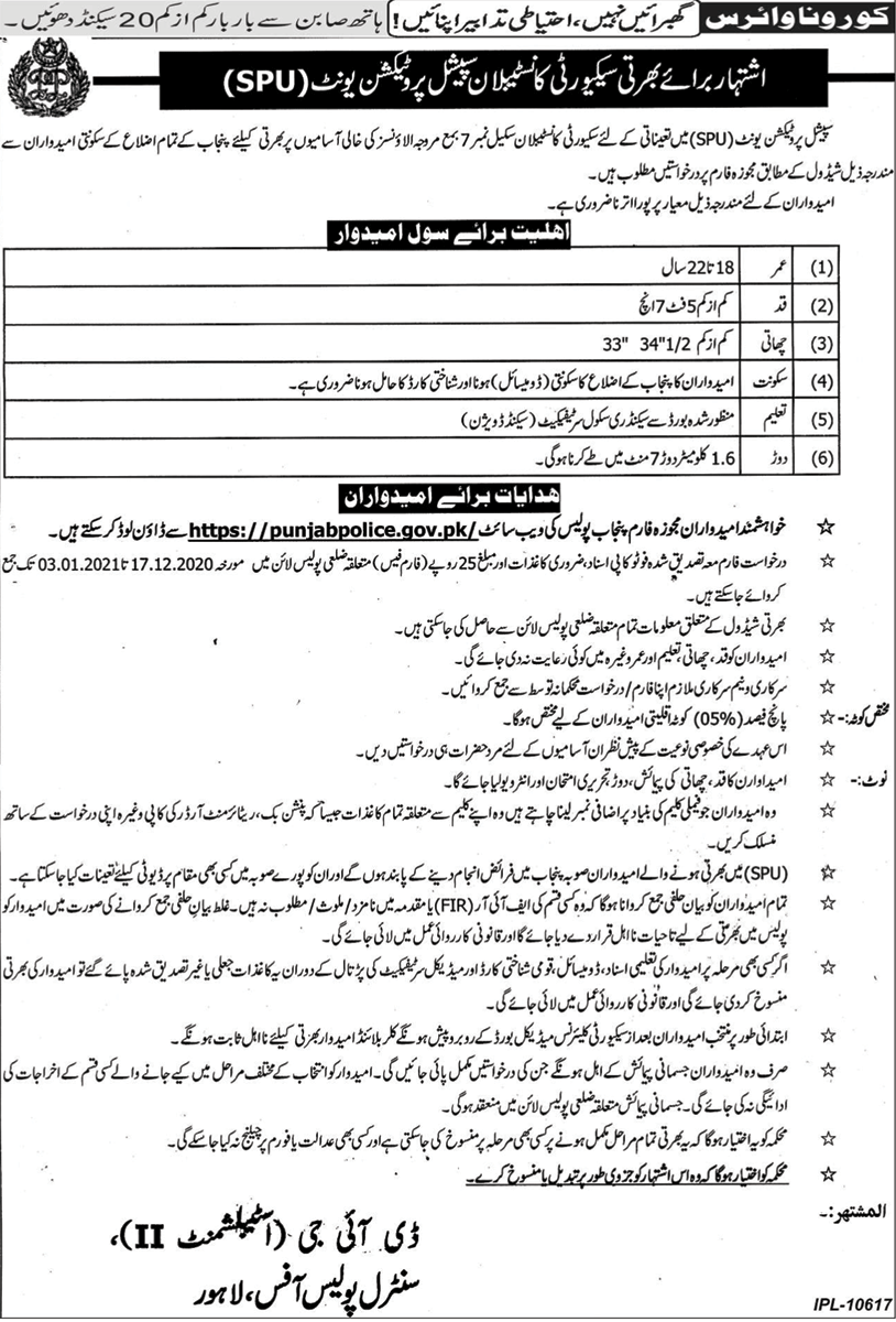 Police Jobs For Male and Female Jobs 2020