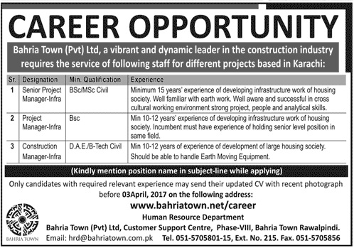 Project Manager Infrastructure Civil Engineering Jobs In Bahria Town 2017