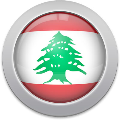 Lebanese flag icon with a silver frame