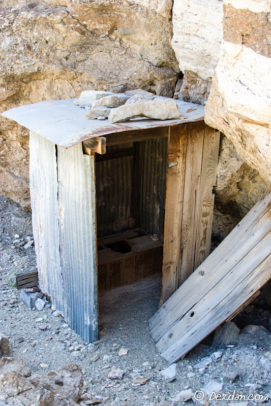 Near the start of our hike we find an outhouse tucked away in a canyon bottom.