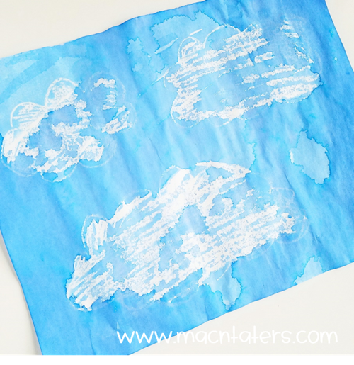 Crayon and Watercolor Resist Clouds