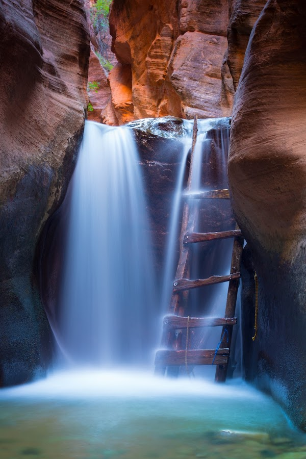 Ladder Under the Fall by Shane Egan - Landscapes Waterscapes ( ladder, slot canyon, stream, nature, utah, waterfall, waterscapes, landscapes )