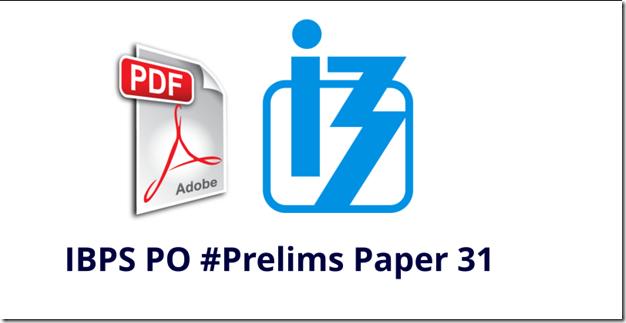 IBPS PO 2017 Prelims Model Question paper 31 PDF