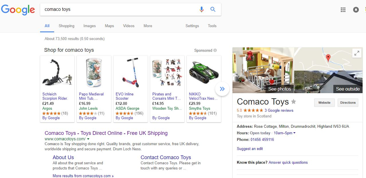 Why do Google products show for different companies when