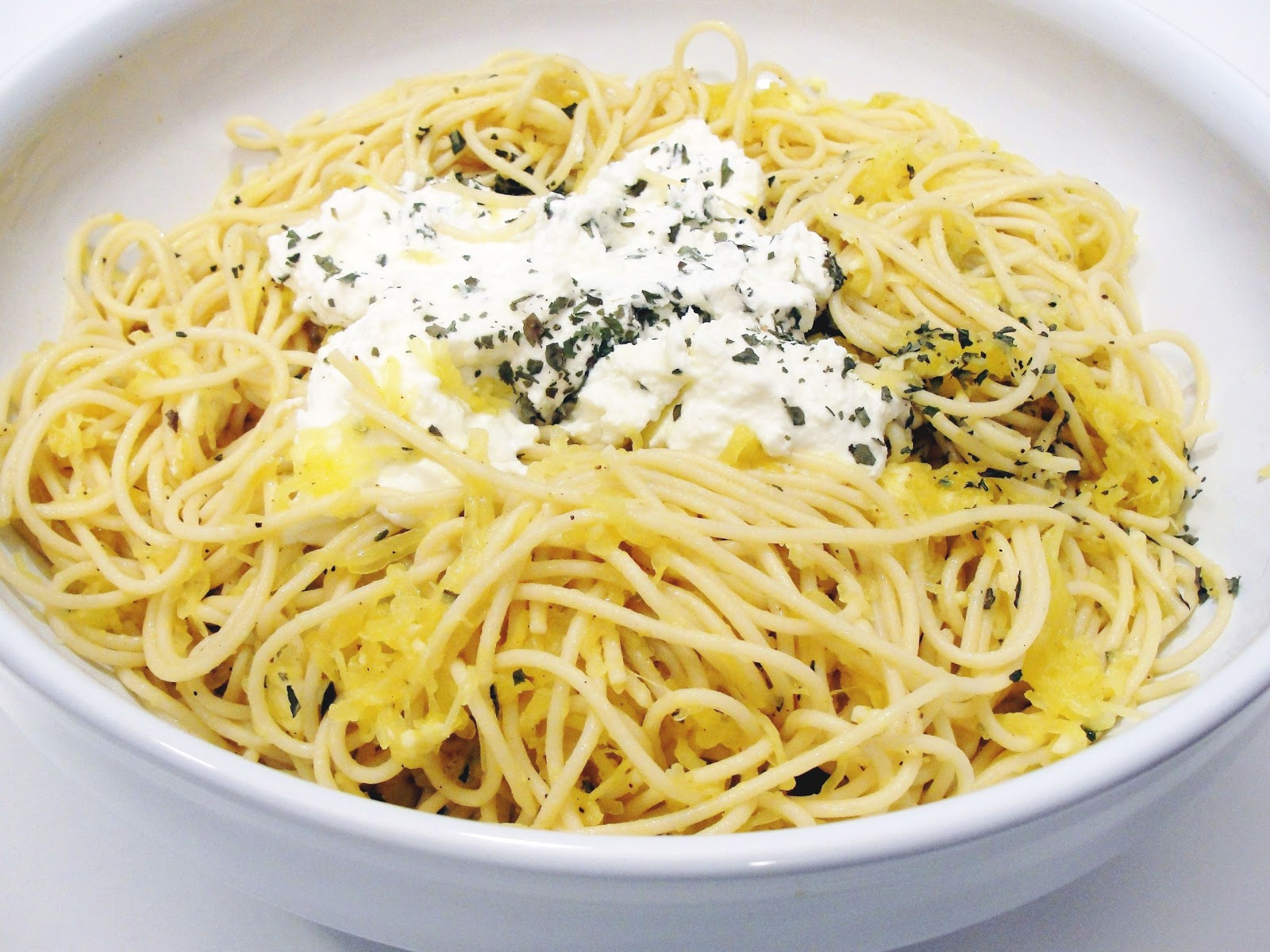 Spaghetti Squash Spaghetti with Lemon Garlic Sauce and Ricotta