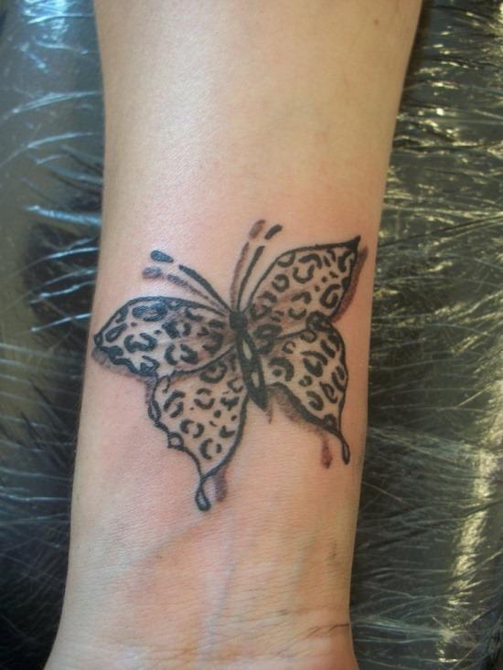 bonito_cheetah_print_borboleta_pulso_de_tatuagem