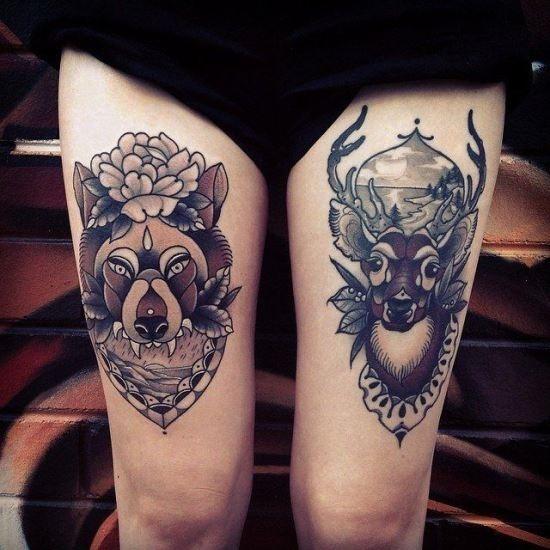 o_lobo_e_o_veado_coxa_tatuagem
