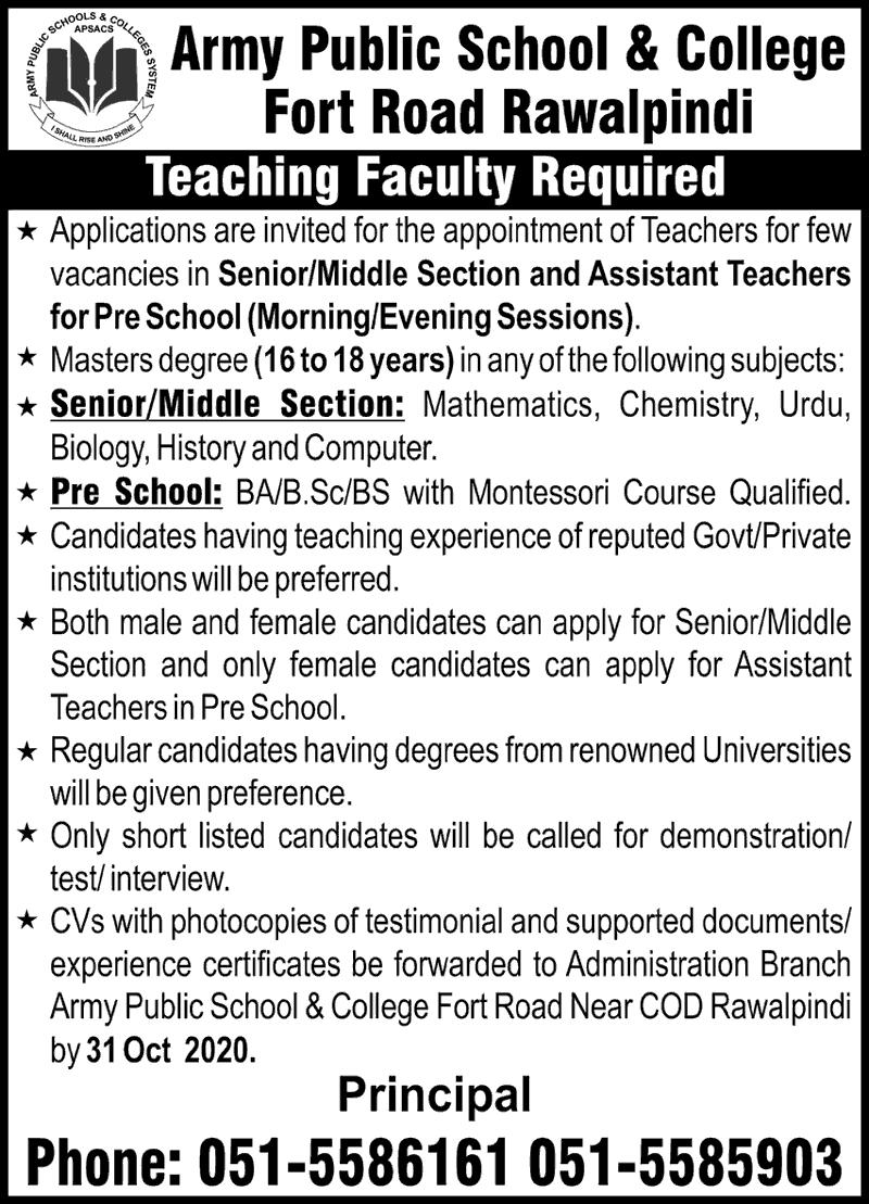 Army Public School Jobs 2020 For Teacher