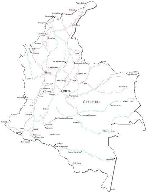 mapa politico de colombia para colorea