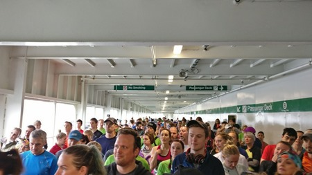 Runners gathered on the car deck