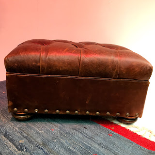 Distressed Leather Ottoman #1