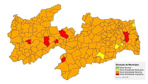 20ª avaliação do Plano Novo Normal aponta Guarabira , Pilõezinhos e Cuitegi e mais 209 municípios paraibanos em Bandeira Laranja