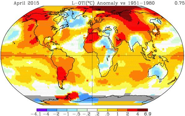 Informe climático de la Tierra. Abril de 2015 el 4º más cálido desde 1880